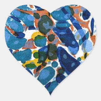 Blue Marbled Paper Heart Sticker