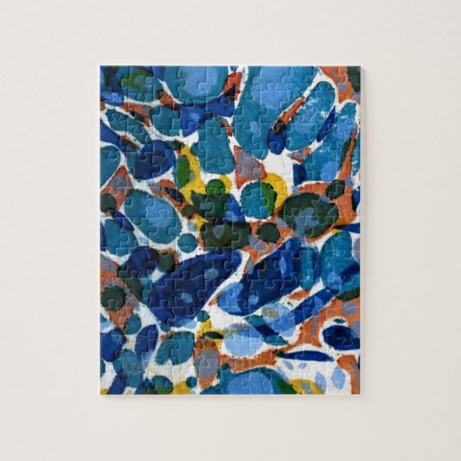 Blue Marbled Paper Jigsaw Puzzles