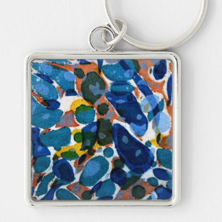 Blue Marbled Paper Keychain