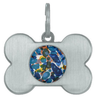 Blue Marbled Paper Pet Name Tags