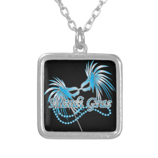 Blue Mardi Gras Mask Square Pendant Necklace