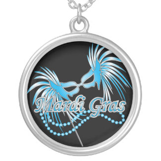 Blue Mardi Gras Mask Round Pendant Necklace