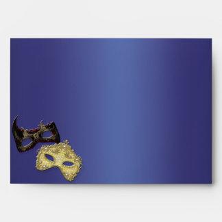 Blue Mardi Gras Masks Masquerade Party Envelopes