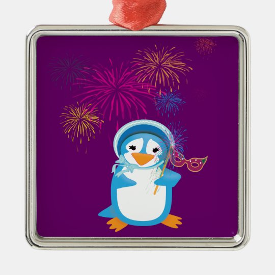 Blue Mardi Gras Penguin & Fireworks Ornament