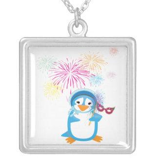 Blue Mardi Gras Penguin Necklace