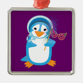 Blue Mardi Gras Penguin Ornament