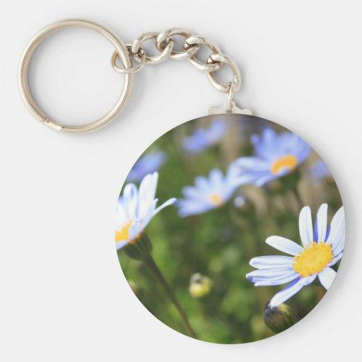 Blue Marguerite Flowers Keychain