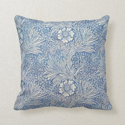 Blue Marigold by William Morris Pillows