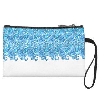 Blue marine abstract swirl waves suede wristlet wallet