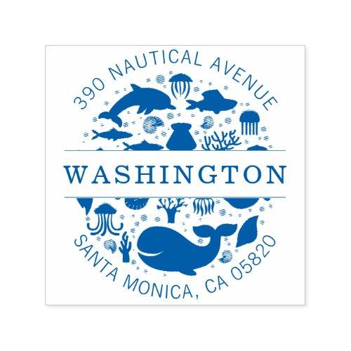 Blue Marine Animals Family Name Return Address Self_inking Stamp