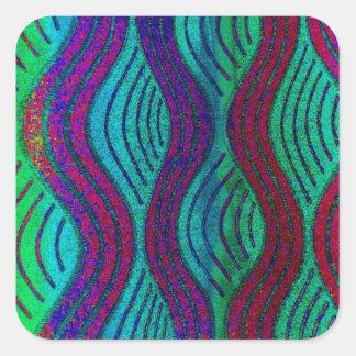 blue, marine, aqua waves square sticker