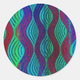 blue, marine, aqua waves round sticker