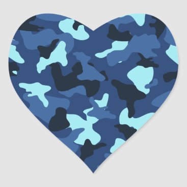 Blue marine army camo camouflage pattern heart sticker