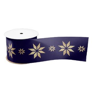 Blue Marine Golden Christmas Stars Snowflakes Satin Ribbon