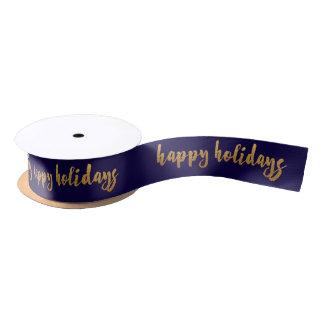 Blue Marine Golden Happy Holidays Reinadeer Satin Ribbon