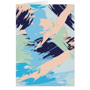 Beach Themed Blue Maritime Nautical Abstract Art Card