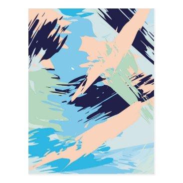Beach Themed Blue Maritime Nautical Abstract Art Postcard