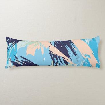 Beach Themed Blue Maritime Nautical Brushstroke Pattern Body Pillow