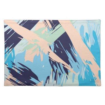Beach Themed Blue Maritime Nautical Brushstroke Pattern Cloth Placemat