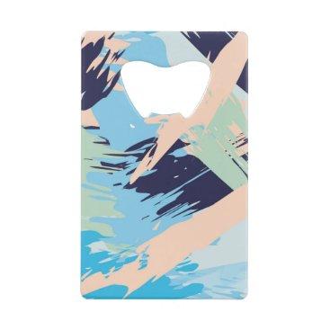 Beach Themed Blue Maritime Nautical Brushstroke Pattern Credit Card Bottle Opener