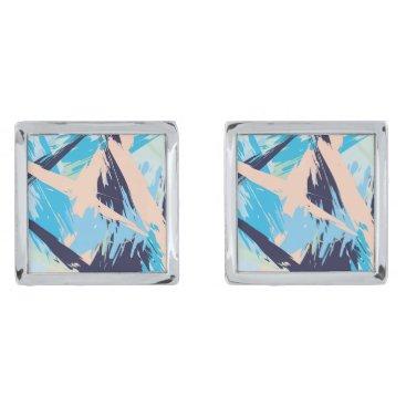 Beach Themed Blue Maritime Nautical Brushstroke Pattern Cufflinks