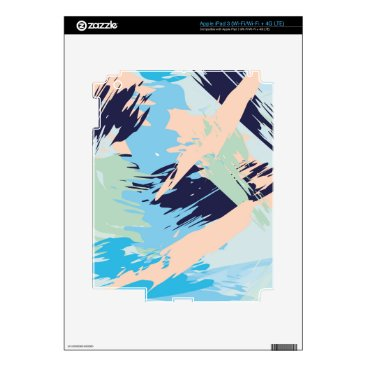Beach Themed Blue Maritime Nautical Brushstroke Pattern Decals For iPad 3