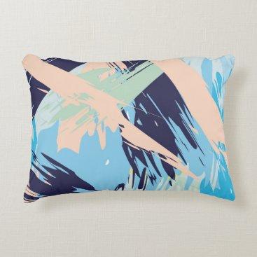 Beach Themed Blue Maritime Nautical Brushstroke Pattern Decorative Pillow