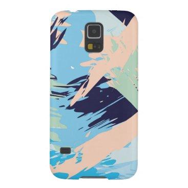 Beach Themed Blue Maritime Nautical Brushstroke Pattern Galaxy S5 Cover