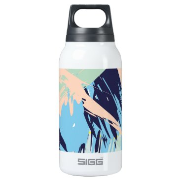 Beach Themed Blue Maritime Nautical Brushstroke Pattern Insulated Water Bottle