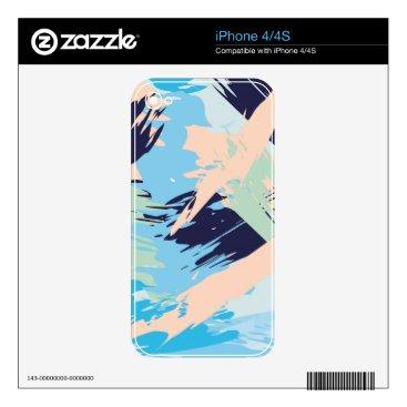 Beach Themed Blue Maritime Nautical Brushstroke Pattern iPhone 4 Skin