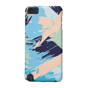 Beach Themed Blue Maritime Nautical Brushstroke Pattern iPod Touch (5th Generation) Cover