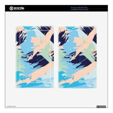 Beach Themed Blue Maritime Nautical Brushstroke Pattern Kindle Fire Decal