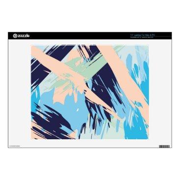 Beach Themed Blue Maritime Nautical Brushstroke Pattern Laptop Skin