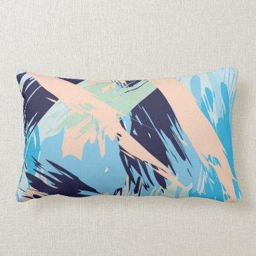 Beach Themed Blue Maritime Nautical Brushstroke Pattern Lumbar Pillow