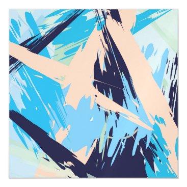 Beach Themed Blue Maritime Nautical Brushstroke Pattern Magnetic Card