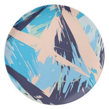 Beach Themed Blue Maritime Nautical Brushstroke Pattern Melamine Plate