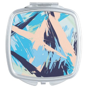 Beach Themed Blue Maritime Nautical Brushstroke Pattern Mirror For Makeup