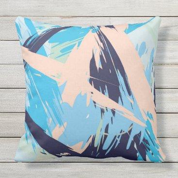 Beach Themed Blue Maritime Nautical Brushstroke Pattern Outdoor Pillow