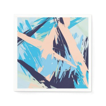 Beach Themed Blue Maritime Nautical Brushstroke Pattern Paper Napkin
