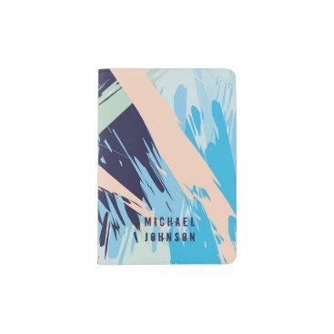 Beach Themed Blue Maritime Nautical Brushstroke Pattern Passport Holder