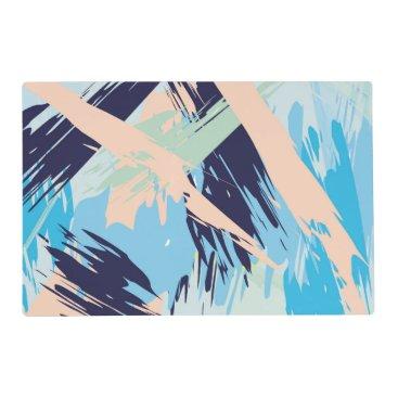 Beach Themed Blue Maritime Nautical Brushstroke Pattern Placemat