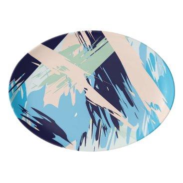 Beach Themed Blue Maritime Nautical Brushstroke Pattern Porcelain Serving Platter