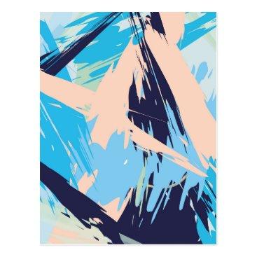 Beach Themed Blue Maritime Nautical Brushstroke Pattern Postcard