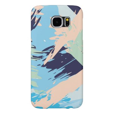 Beach Themed Blue Maritime Nautical Brushstroke Pattern Samsung Galaxy S6 Case