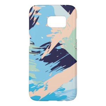 Beach Themed Blue Maritime Nautical Brushstroke Pattern Samsung Galaxy S7 Case