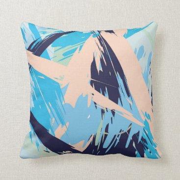 Beach Themed Blue Maritime Nautical Brushstroke Pattern Throw Pillow
