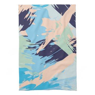Beach Themed Blue Maritime Nautical Brushstroke Pattern Towel
