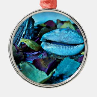 Blue maritime Symphony OF Seashell Metal Ornament