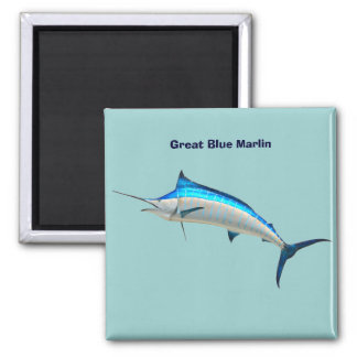 Blue Marlin 2 Inch Square Magnet