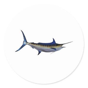 Beach Themed Blue Marlin Fish Classic Round Sticker